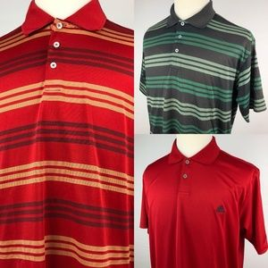 Lot of 3 Adidas Golf Polo Shirts Large Red Brown